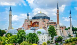 A view of Hagia Sophia, Christian patriarchal basilica, imperial mosque, and now a museum Ayasofya Muzesi, Istanbul, Turkey