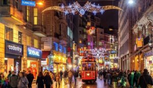 Istiklal street in Istanbul at night