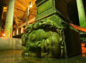 Medusa heads in Basilica cistern Istanbul